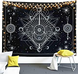 FLY SPRAY Moon Phase Tarot Tapestry Black and White Stars Mystic Tapestry Wall Hanging Tapestry,Chakra Starry Tapestry,Mural for Bedroom, Living Room, Dorm, Home Decoration
