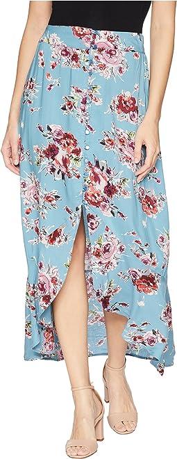 Button Front Print Skirt