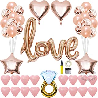 Valentines Day Love Balloons Kit Decorations - 42 Inch Love Foil Balloon Decor, 12 Inch Rose Gold Confetti Balloons and Pink Latex Heart Balloons with Air Pump, Gift for Wedding Bridal Shower Party