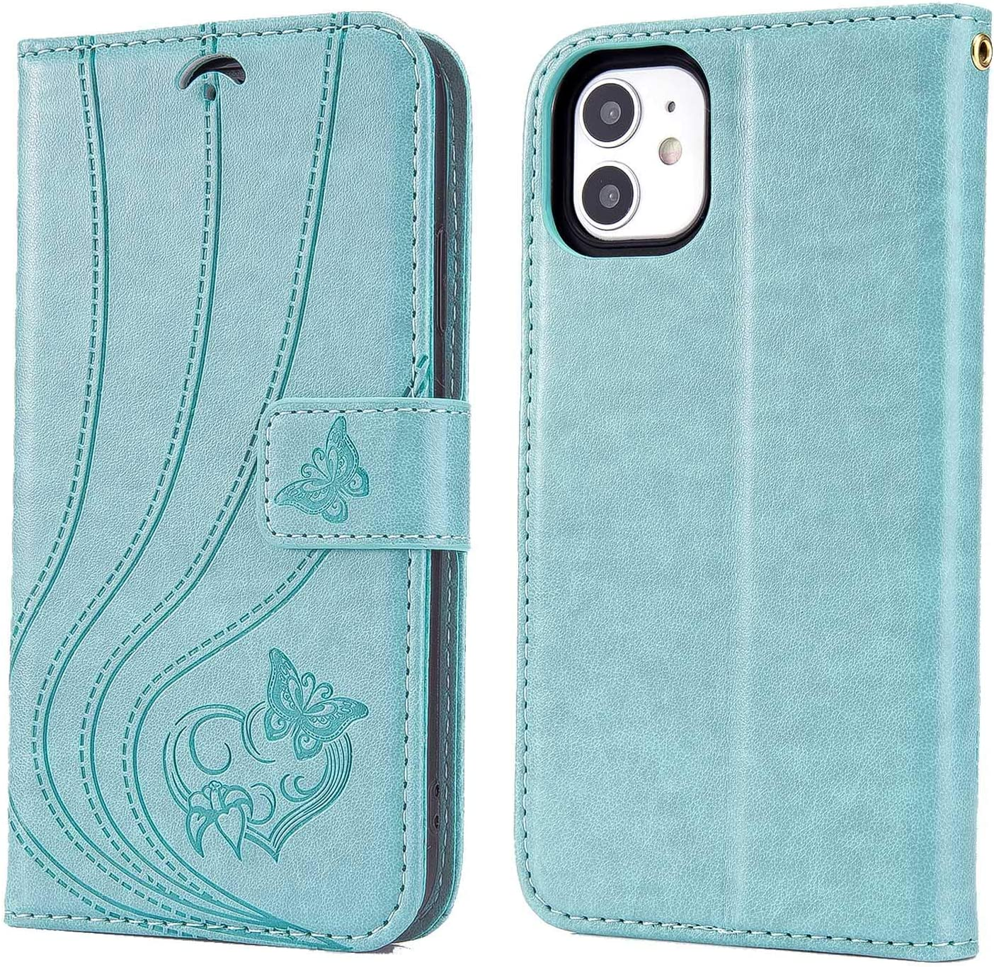 iPhone 11 Wallet Case,iPhone 11 Case with Card Solts Holder,Butterfly Floral Embossed Leather Flip Lanyard Wallet Case (Green)