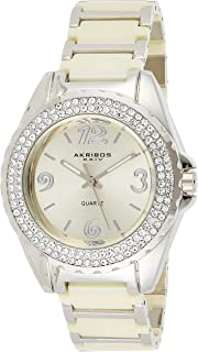 Akribos XXIV Women's Ceramic Analogue Display Crystal Bracelet Watch