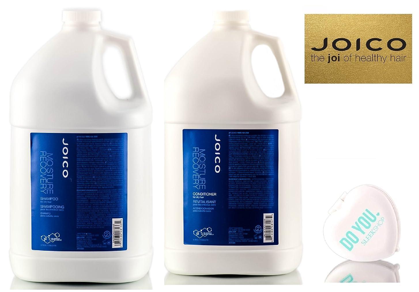 Moisture Recovery by Joico (なめらかなコンパクトミラー付)ドライヘアデュオセットのためジョイコモイスチャーリカバリーシャンプー&コンディショナー 128オンス/ 1ガロンプロフェッショナルデュオキット