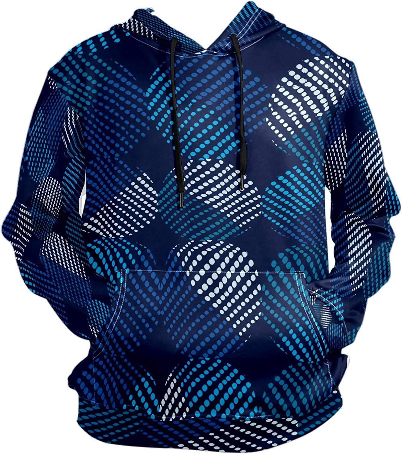 Men's Sport Hoodie Abstract Blue Dot Circle Big and Tall Hoodies for Men Women Oversized Hooded Sweatshirt Hip Hop Pullover Hoodie Midweight Hood for Boys Girls