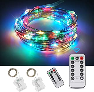 ANJAYLIA 2 Pack 33ft 100 LED Fairy Lights Battery Operated Waterproof Twinkle String Lights Copper Wire Dimmable Firefly Lights with Remote Control Timer Multi Color