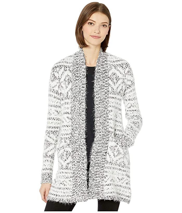 BB Dakota  A Star Is Warm Eyelash Yarn Patterned Cardigan (Ivory) Womens Sweater