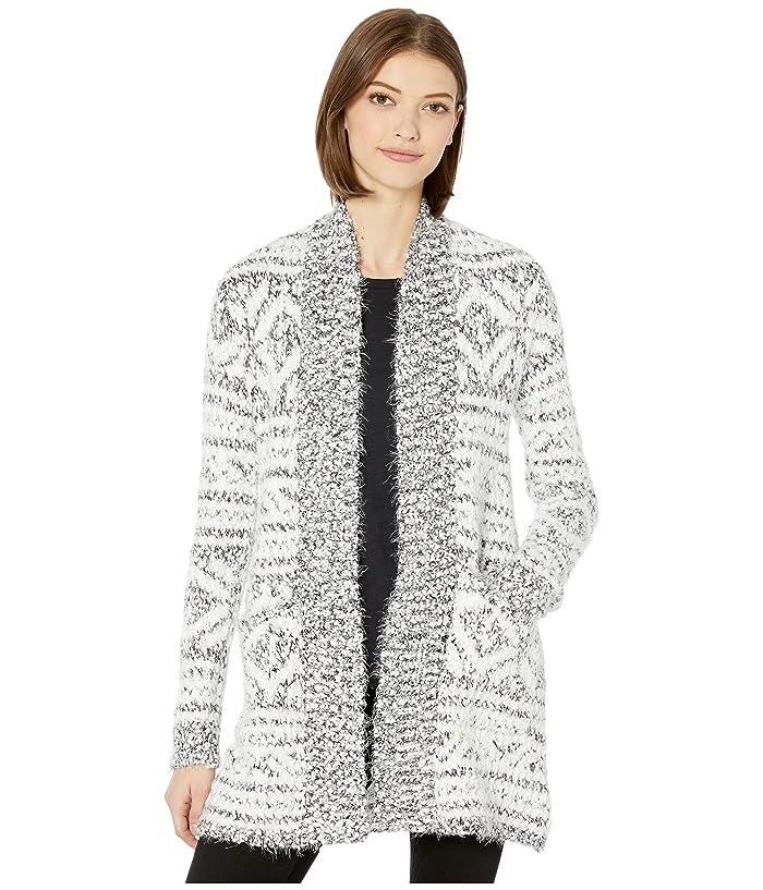 BB Dakota  A Star Is Warm Eyelash Yarn Patterned Cardigan (Ivory) Womens Sweater
