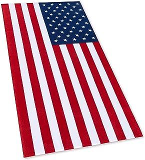 American Flag Beach Towel 30 x 60 inch (76 x 152 cm) USA Patriot 100% Cotton Velour Terry