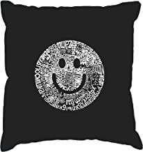 Word Art Throw Pillow Cover - Smile in Different Languages Black