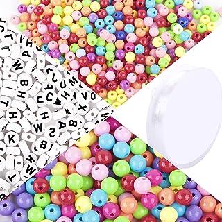 1000pcs Perles Multicolores Rondes et 500pcs Perles Carré de Lettre en Acrylique Assortiment de Perles Alphabet Ronde Spac...