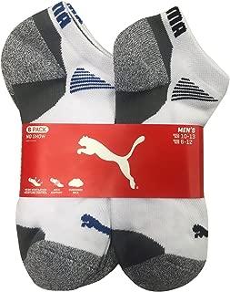 Puma Men's Low Cut All Sport No Show Socks 6-Pair (Shoe Size 13-15, White/Grey)