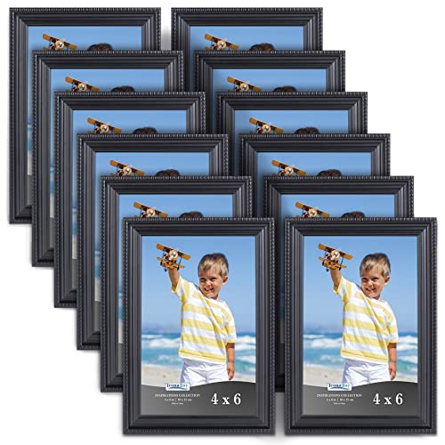 Icona Bay 4x6 Picture Frames 12 Pack Black Black Picture Frame Set
