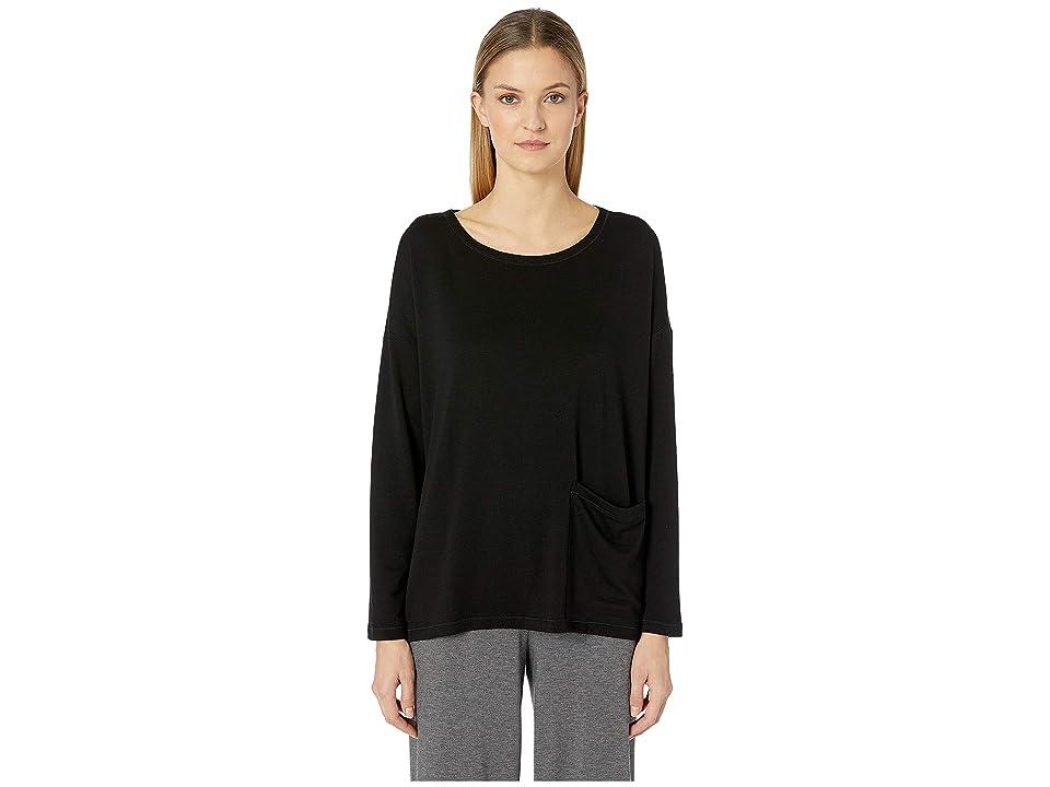 Eileen Fisher Tencel Terry Pocket Top (Black) Women