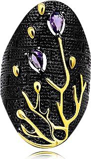 Uloveido بلونين مفرط الذهب شجرة فرع الأسود ، رمز الحياة، خواتم هالوين كبيرة للنساء Y565