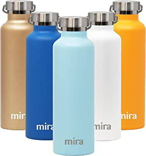 MIRA Stainless Steel Vacuum Insulated Water Bottle | Alpine Thermos Flask with 2 Lids | Keeps Water Stay Cold for 24 Hours, Hot for 12 Hours | Metal Bottle BPA-Free Cap | Matte Pearl Blue | 25 oz
