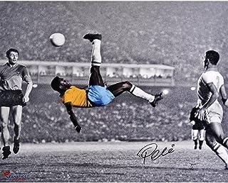 "Pele Brazil Autographed 16"" x 20"" Bicycle Kick Spotlight Photograph - Fanatics Authentic Certified - Autographed Soccer Photos"
