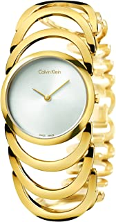 Womens Gold Calvin Klein Body Stainless Steel Watch K4G23526 band color: Gold, Dial color