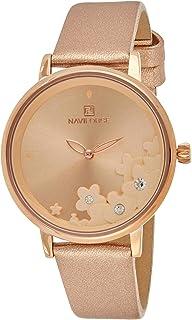 ساعة كرونوغراف بمينا ذهبي وسوار من جلد البولي يوريثين للنساء من نافي فورس - NF5012-RGRGRG