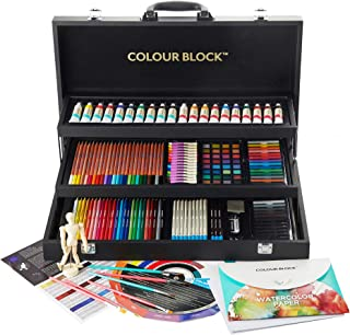 COLOUR BLOCK Premium 181 Piece All Media Art Set in Durable PU hinged Carry case, with Soft & Oil Pastels, Acrylic & Watercolor Paints, Watercolor, Sketching, Charcoal & Colored Pencils and Art Tools