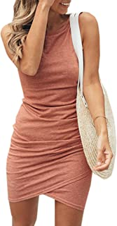 ECOWISH Women Dress Summer Casual Crew Neck Ruched Stretchy Bodycon T Shirt Short Mini Dress