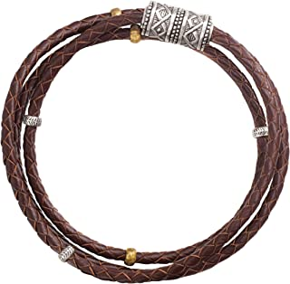 Silpada 'Multi-Purpose' Genuine Leather Wrap Chain Bracelet in Sterling Silver and Brass, 29