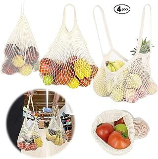 per Frutta e Verdura 5 Colori riutilizzabili con Manico Lungo JUCERS Confezione da 5 Sacchetti per la Spesa in Rete di Cotone