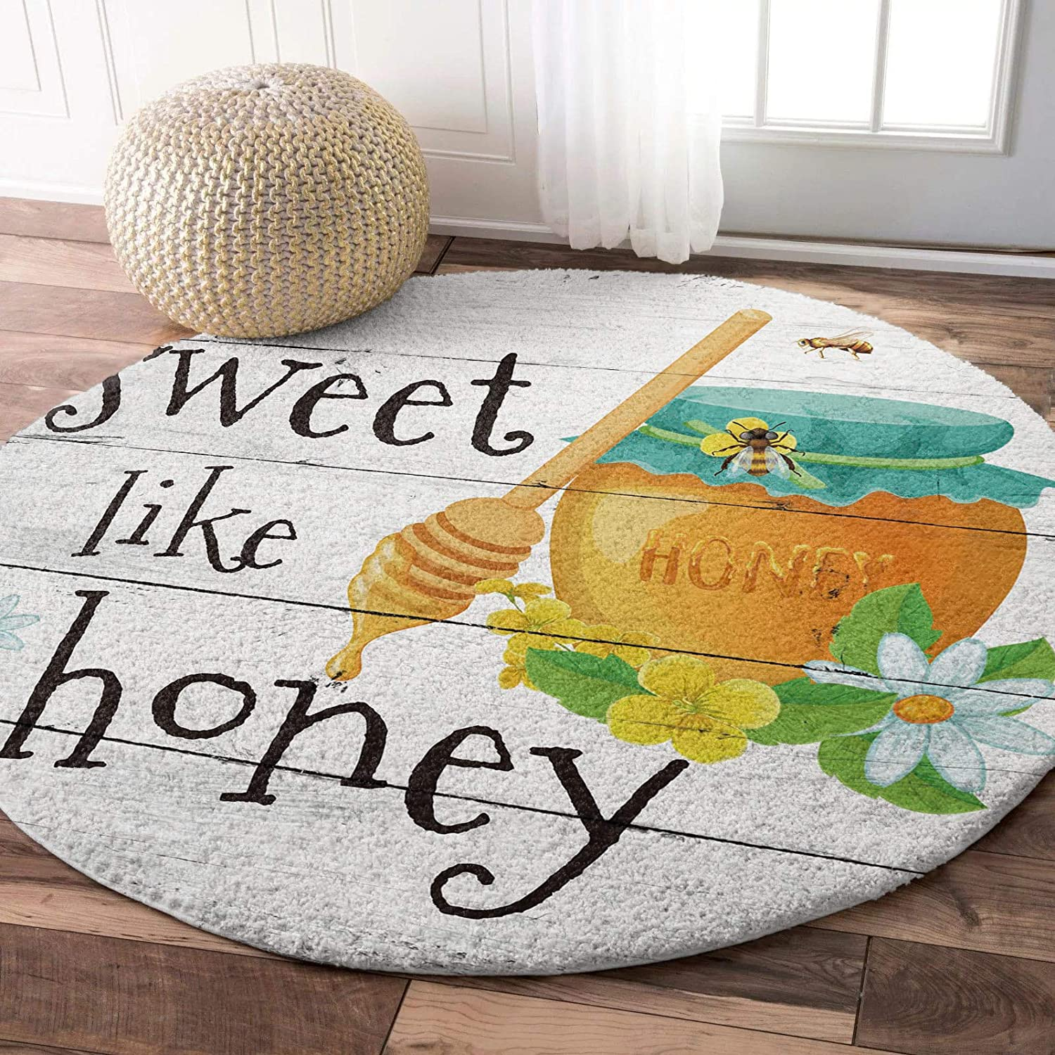Round Fluffy It is very Mail order popular Area Rugs Carpet Farm Circle Soft Honey Jar Flower