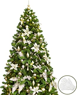 KI Store 7FT Artificial Christmas Tree with Decoration Ornaments Pure Champagne Christmas Decorations Including 7 Feet Full Tree, 146pcs Ornaments, 2 pcs 59ft USB Mini LED String Lights