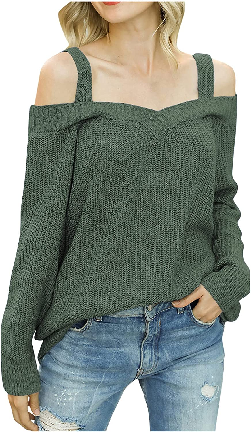 JIANGZHo Long Sleeve Cold Shoulder Sweater Tops for Women Sexy V Neck Halter Knitted Pullover Sweater Shirts Tunic Tops