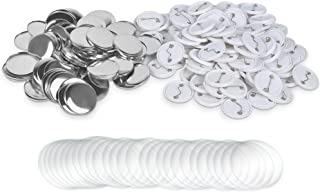 Akamino 100 Pieces Blank Badge Button Parts for Button Making Machine - Metal Shells and Plastic Base Components, Badge Ma...