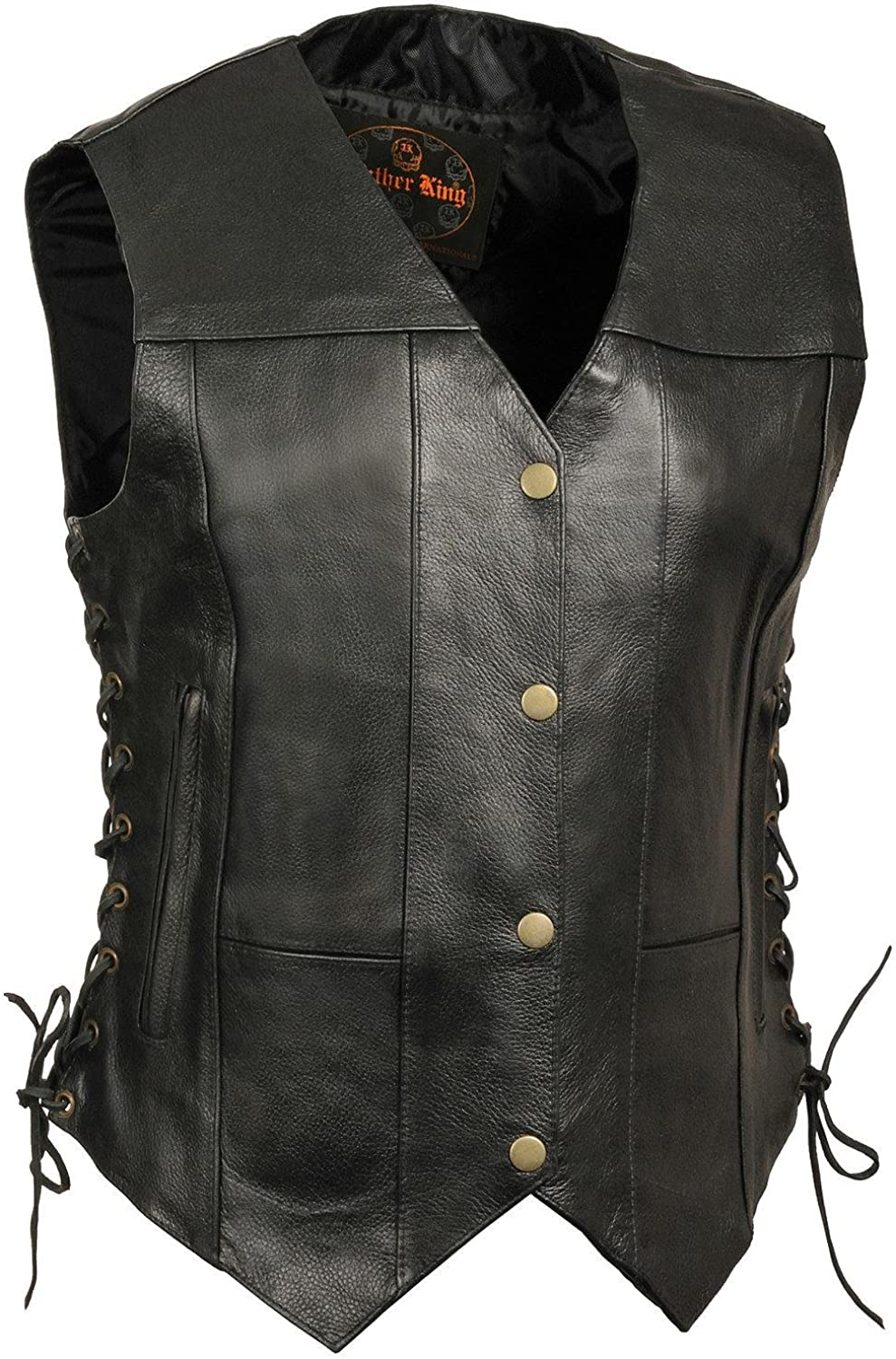 Milwaukee Leather Women's 6 Pocket Side Lace Conceal Carry Vest Black X-Large