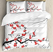 Ambesonne Japanese Duvet Cover Set Queen Size, Simplistic Cherry Blossom Tree Asian Botanic Themed Pattern Fresh Organic Lines Art, Decorative 3 Piece Bedding Set with 2 Pillow Shams, Red Black