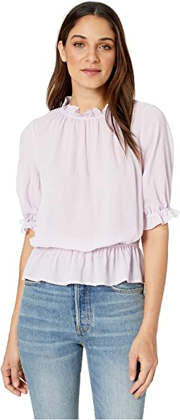 Short Sleeve Mock Neck Micro Check Ruffle Blouse