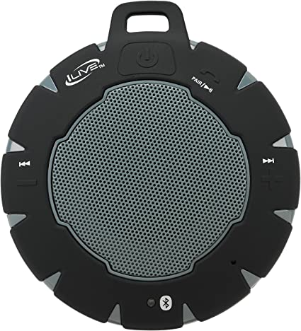 iLive Waterproof Wireless Speaker, Includes Detachable Carabiner Clip and  Micro-USB to USB Cable, Black/Blue (iSBW8BU)
