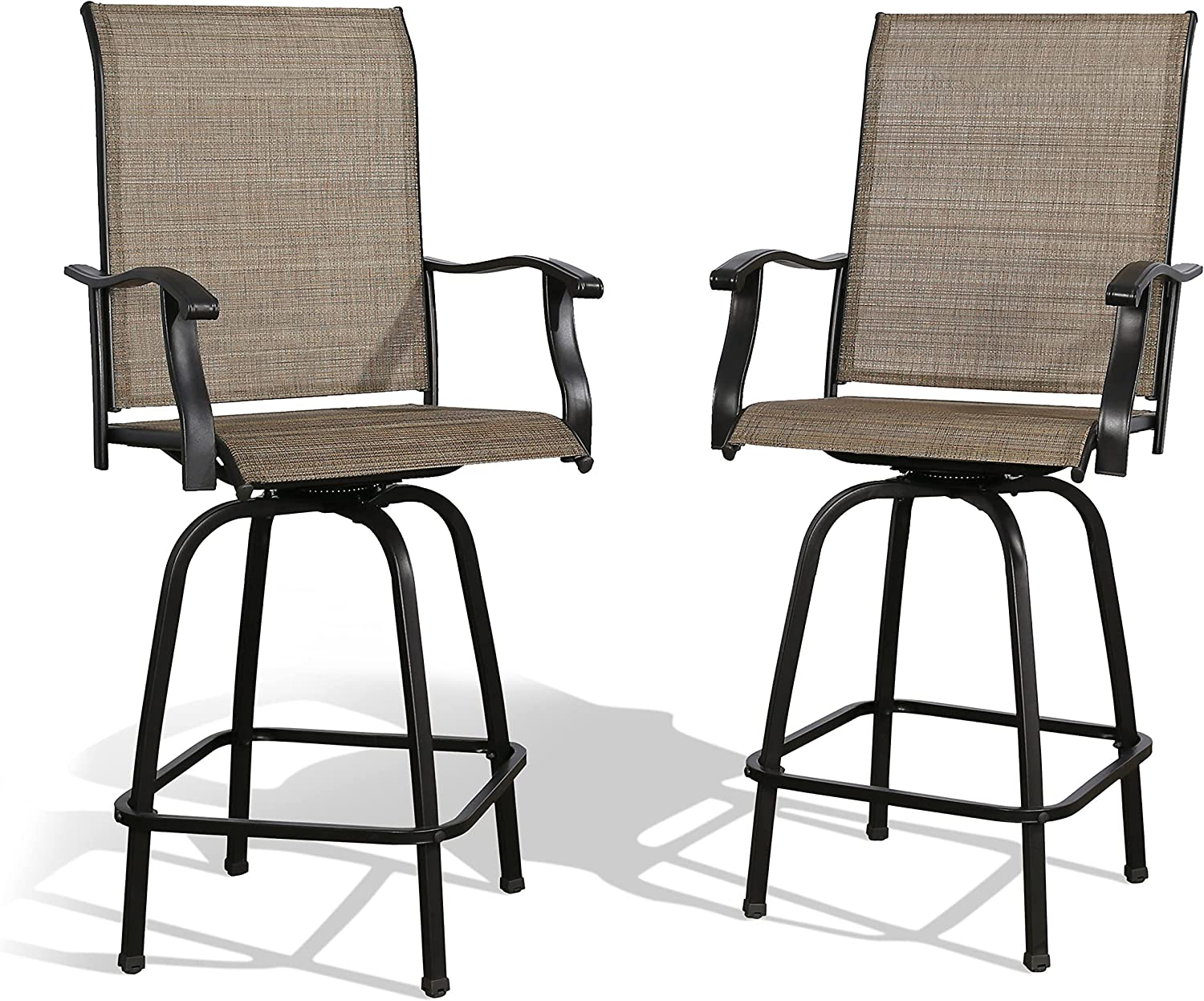 Iwicker Patio 2 PCS Swivel Height Mesh Textilene with Fresno Mall Beauty products Bar Chairs