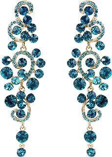 BriLove Women's Bohemian Boho Wedding Bridal Crystal Floral Chandelier Hollow Dangle Earrings
