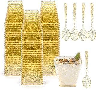 Tebery - Juego de 100 tazas de postre de plástico con cucharas cuadradas y purpurina dorada de 8 onzas para servir postres, aperitivos
