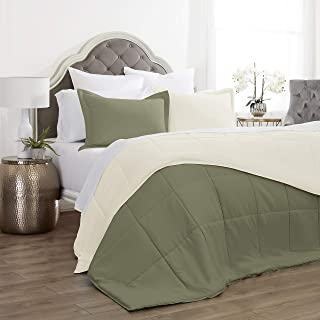 Jácler 3 Piece Reversible Comforter Set (Sage/Ivory, King/California King) Better Than Egyptian Cotton - 1800 Series – Brushed Microfiber – Wrinkle/Fade/Stain Resistant – Hypoallergenic