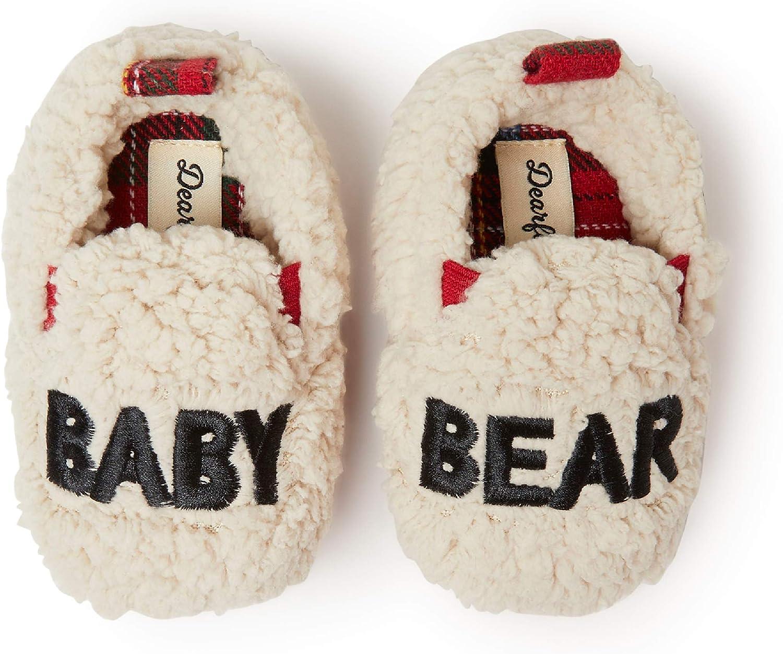 Dearfoams Unisex Kids Family Collection Baby Bear Plaid Closed Back Slipper