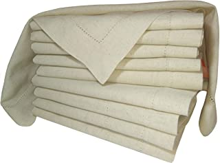 PACK of 12,Flax Cotton Designer Dinner Napkins20x20,Hemstitched Natural Color by Linen Clubs - Premium Linen Look - 20% Linen & 80% Cotton Natural Fiber.