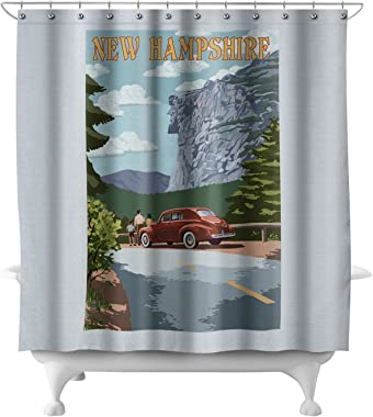 Lantern Press New Hampshire - Old Man of The Mountain and Roadway (71x74 Polyester Shower Curtain)