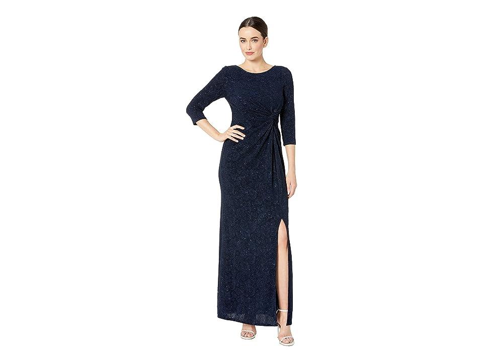 388c74b1 Alex Evenings Long Glitter Knit Knot Front Dress with Front Slit (Navy)  Women