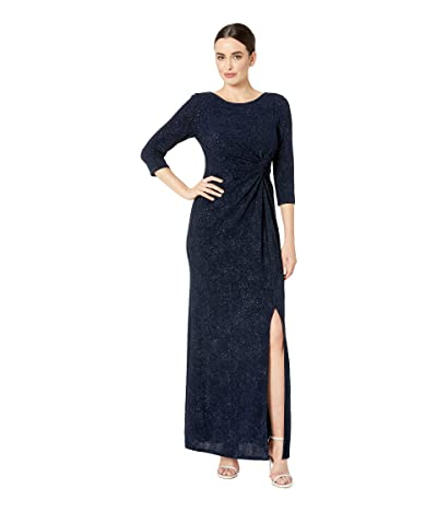 Alex Evenings Long Glitter Knit Knot Front Dress with Front Slit (Navy) Women