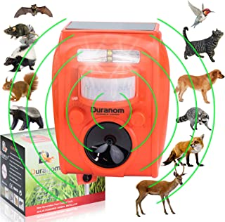 Duranom Solar Powered Animal Repeller Ultrasonic Cat Deer Dog Birds Repellent Outdoor With Motion Sensor Activated Flashing Light And Alarm Sound, Pest Control Chaser Device, USB And Batteries Incl.
