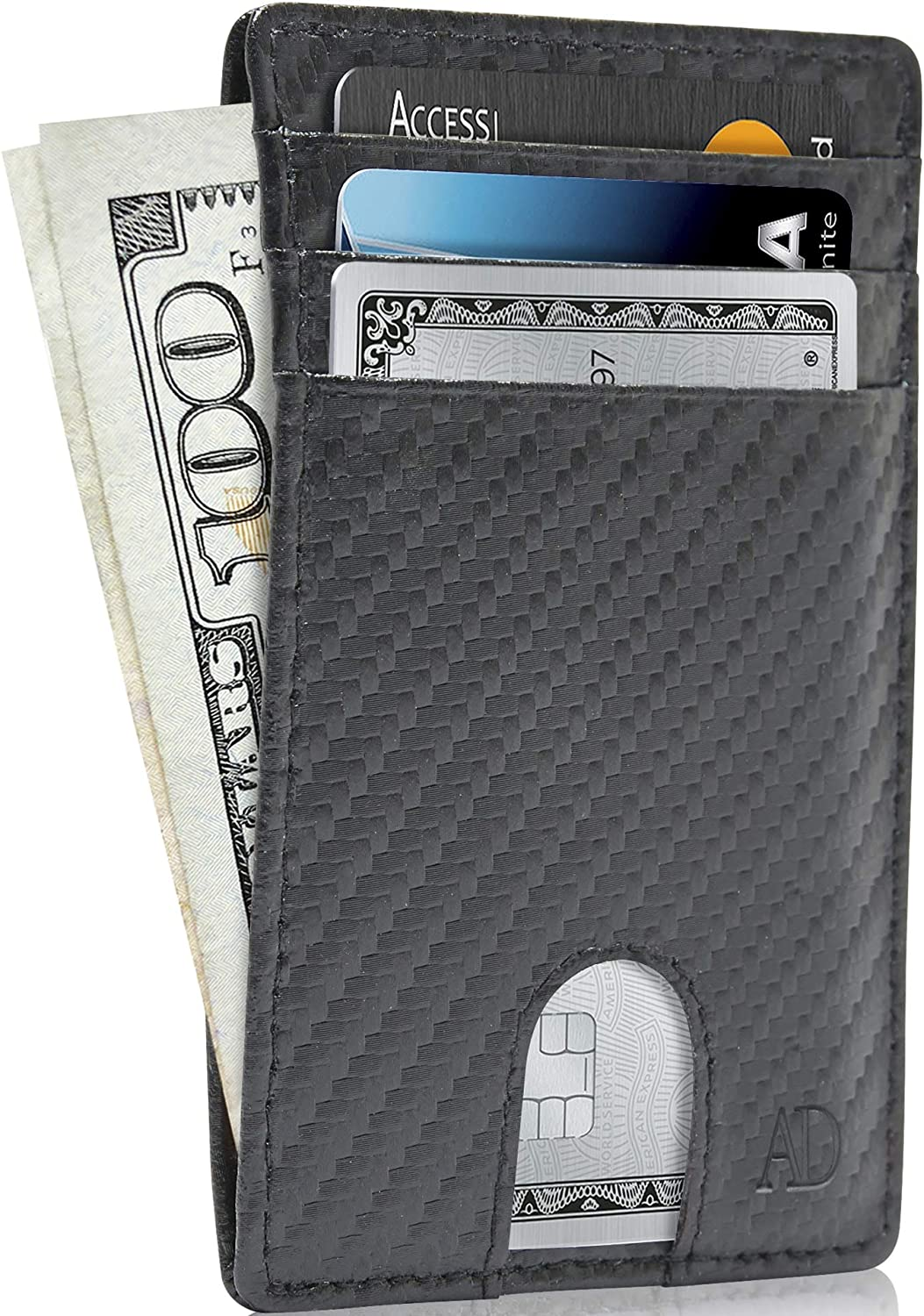 REAL LEATHER Slim Minimalist Mens Wallet - Thin Front Pocket RFID Credit Card Holder Wallets For Men Holiday Gifts For Him