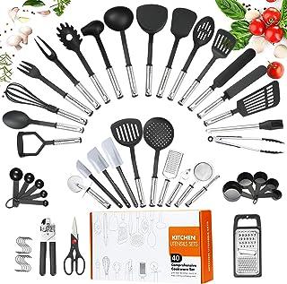 Cooking Utensils Set,40 Pcs Cooking Utensils,Nylon Cooking Utensils Set,Utensil Set with Non-stick Stainless Steel Handle,...