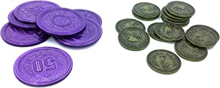 $2 Green and $50 Purple Metal Coin Promos for Scythe the Board Game