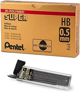 Pentel C25-HB Super Hi-Polymer Lead Refill, 0.5mm Fine, HB, 360 Pieces of Lead