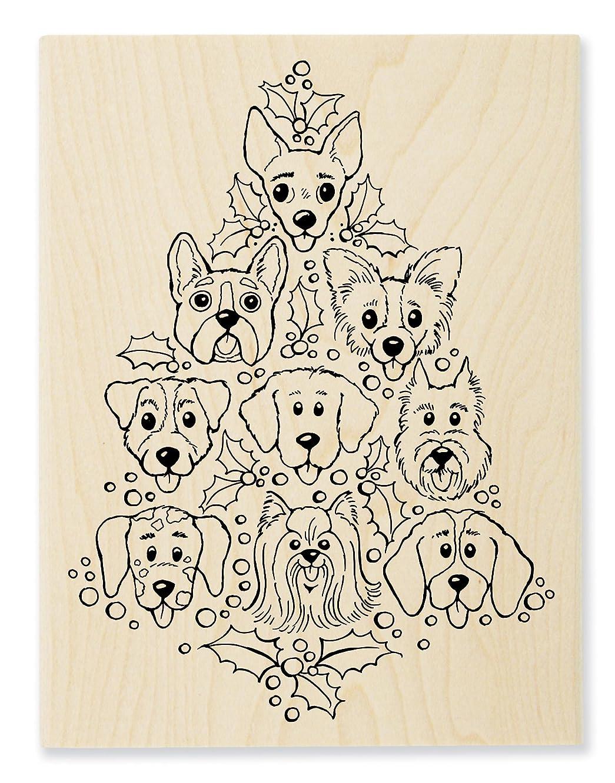 STAMPENDOUS Dog Tree Wood Stamp