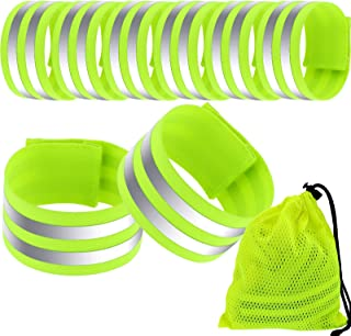 Boao 8 Pieces Reflective Wristbands Safety Reflector Straps Elastic Wristbands Armbands Mesh Storage Bag, Fluorescent Green
