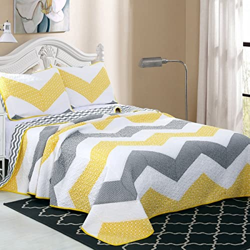 a259b4ad7b4 Alicemall Geometric Design Modern Quilt Set 100% Cotton Soft and Breathable  White Yellow Gray Chevron